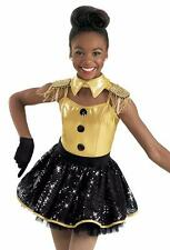 Dance Costume Large Child Gold Metallic SoldierJazz Tap Solo Competition Pageant