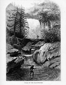 West  Virginia> 3 prints Petersburg Gap Blackwater Falls ,Seneca 1872  antique