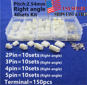 40 Sets JST XH 2.54mm 2 3 4Pin 5P Right Angle Housing JST Connector with Crimps