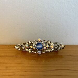 Vintage Jeweled Faux Blue White Star Sapphire Gem Hair Barrette Aurora Borealis