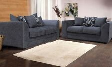 *** BRAND NEW*** Zinc Chenille Grey or Black Fabric 3 and 2 Seater Sofa Cheap