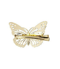 Womens Girls Butterfly Gold Plated Hair Clips Hairpin Wedding Bridal Party 2Pcs