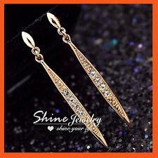 18K ROSE GOLD GF COCKTAIL DRESS LONG DROP EARRINGS SIMULATED DIAMOND CRYSTALS