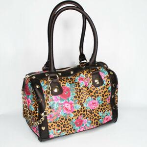 Betsey Johnson Leopard Cheetah Rose Satchel Bag Shoulder Purse Gold Floral