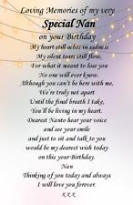 Graveside wweatherproof Card Nan Auntie Gran Mam Birthday memorial  Card F67