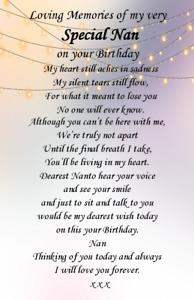 Graveside weatherproof Card Nan Auntie Gran Mam Birthday memorial  Card F67