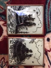 Vintage Couple & 2 Woman Silhouette Convex Glass Picture lot metal frame 4x5