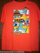 Disney Phineas and Ferb PERRY Shirt Boy's s/s 10/12 NeW Orange Top Agent P