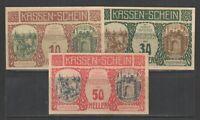 AUSTRIA NOTGELD ARTSTETTEN 31.DEZEMBER.1920 SET of 3 UNC