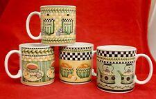 Sakura SUNNY COUNTRY KITCHEN 4 MUGS CUPS Debbie Mumm