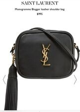 New NWT Saint Laurent YSL Monogram Tassel Blogger Crossbody Shoulder Bag Black