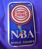 Vtg 1990 Detroit Pistons NBA World Champs Enameled 1 oz .999 Silver Art Bar