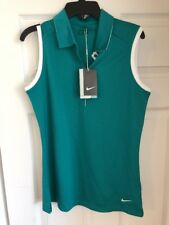 Nike Womens Stay Cool Gold Shirt Teal/white Sz s Tiger Woods