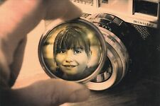 RARE Girl in lens photo camera collage fantasy Russian modern postcard