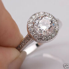 Size6 Sparkling 24k White Gold Filled Round Cocktail Womens Ring