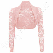 LADIES  CROPPED LACE LONG SLEEVE SHRUG BOLERO LACE JACKET CARDIGAN TOP