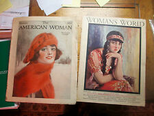 2 MAGAZINES 1923 AMERICAN WOMAN 1926 WOMANS WORLD WOELELE & PROVOST COVERS