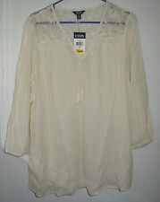 XL ~ chaps ~ boho ~ natural cream lace peasant top ~ XL