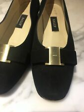 Bally 38 EU 7.5 US UK 5.5 Womens Black Suede Pumps w/ Buckle Italy Leather