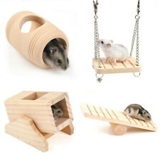 1X Wooden Hamster Toy Seesaw Swing Rat Bird Mouse Exercise Cage Hanging Pet Play