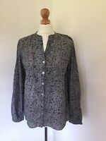 Laura Ashley Top UK 12 Grey Floral Shirt Blouse Casual Smart Cotton Button Down