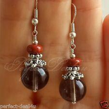 925 Sterling Silver hook Smoky Quartz Red Jasper Grey Brown Earrings