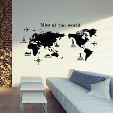 DIY World Map PVC rimovibile vinile Art Room Wall Sticker Decal Murale Home CH