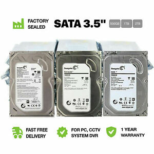 "3.5"" PC Desktop SATA 7200RPM Internal Hard Drive 500GB,1TB,2TB CCTV DVR HDD UK"