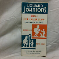Vintage 1964 Advertising Howard Johnson's Directory Pamphlet