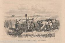 Antique  print farming reapers / Burgess Key reaping machine Reaper 1859