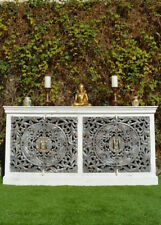 French Provincial Grey Mandala Carved Door Shabby Chic White Sideboard Buffet