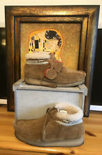 CLARKS ORIGINALS X GOODHOOD Mens Leather Wallabee Cognac Fur Lined Boots : UK 7