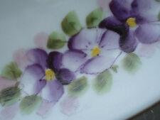 Nippon Hand Painted Plate Vintage Violets White Blue Border Cabinet Porcelain