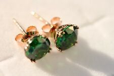 Earrings Gold: 14K Rose gold Simulated Emerald stud earrings, Christmas gift