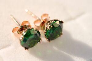Earrings Gold: 14K rose gold Simulated Emerald stud earrings gift for women