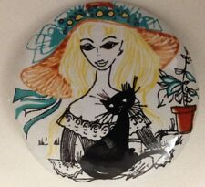 """Multicolor 1 3/4"""" Girl with Black Cat Pin Broach Jewelry"""