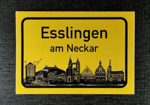 Aufkleber Ortschild Esslingen am Neckar mit Skyline