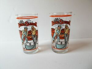 "Pair Jack Daniels Bung Slinger Glasses Recipe on Back 5 1/4"" Tall Advertising"