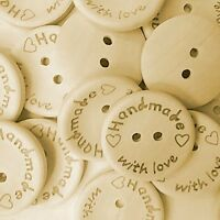 """""""HANDMADE WITH LOVE"""" Wood Buttons - Scrapbooking - Crafting - Sewing UK"""