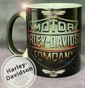 Heat Sensitive Harley Davidson Decal Skull Mug Retro Vintage Cup For Bikers