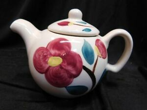 Puritan 1 Cup pottery Slip ware Teapot with floral decor