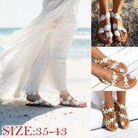 Femme Boho Sandales Fleur Vacances D' Été Plage Tongs Plat Chaussures Confort 04