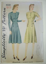 1940's women's fitted button detailed dress size 14 pattern 4030 vintage