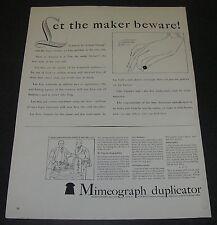 Magazine Print Ad 1940 Mimeograph Duplicator Let the maker beware BlackBall List