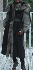 Designer Hooded Full Length black Mink fur & Silver Fox Fur Coat Jacket S-M 2-8