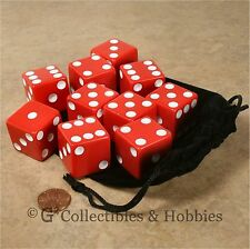 NEW 10 Jumbo 25mm 1 inch Red Dice & Bag Set 6 Sided RPG Bunco Game Large D6
