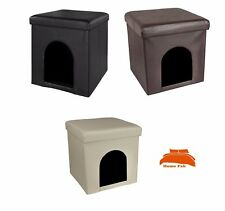 New Foldable Pet Ottoman Storage Kennel Home Bed Seat Box Stool Pouffe
