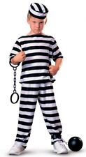 Kids Prisoner Jail Convict Robber Halloween Fancy Dress Party Costume