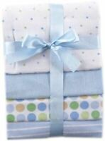 Luvable Friends Boy Flannel Receiving Blankets, 4-Pack, Blue