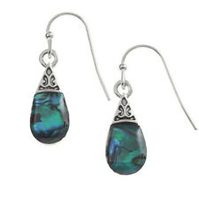 BLUE ABALONE PAUA SHELL PEARDROP/ANTIQUE SILVER EARRINGS + GIFT BOX